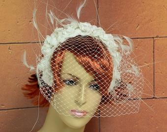 Ivory Sinamay Wedding Fascinator with White Feathers and White Veiling, White Flower,Bridal Headpiece, Wedding