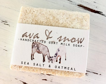 Sea Salt Goat Milk and Honey Soap, All Natural Soap, Handcrafted Goat's Milk Soap with Oatmeal, Goat's Milk Soap, Raw Honey Goat, Salt Bar