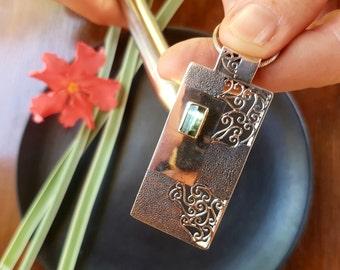 Unique Design Green Tourmaline Sterling Silver Pendant/silver pendant/silver jewelry/handmade jewelry/tourmaline pendant/tourmaline necklace