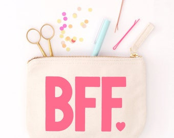 Handbag Canvas Purse - Pouch with Zip - Cotton Clutch - Slogan Pouch - Small Toiletry Bag - BFF Little Canvas Pouch - Alphabet Bags