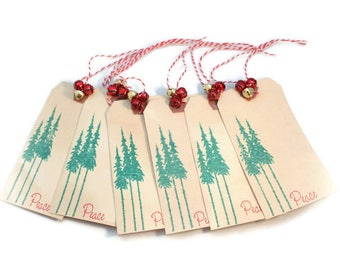 Christmas Gift Tags, Set Of Six ,Primitive, Tea Stained, Pine Tree, Holiday Hang Tags, Rustic, Grungy, Vintage Style, Distressed Tags