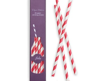 Paper Straws   Red and White Striped Paper Straws   Red Straws   High Quality   Retro Straws   Party Supplies   The Party Darling