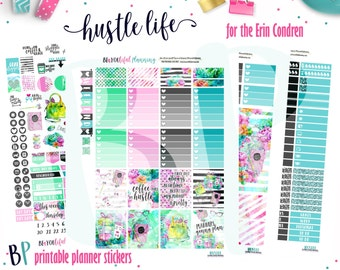 Planner Stickers | Hustle Life Weekly Printable | for use with Erin Condren | Planner Printable | Printable Planner Stickers | Cut Lines