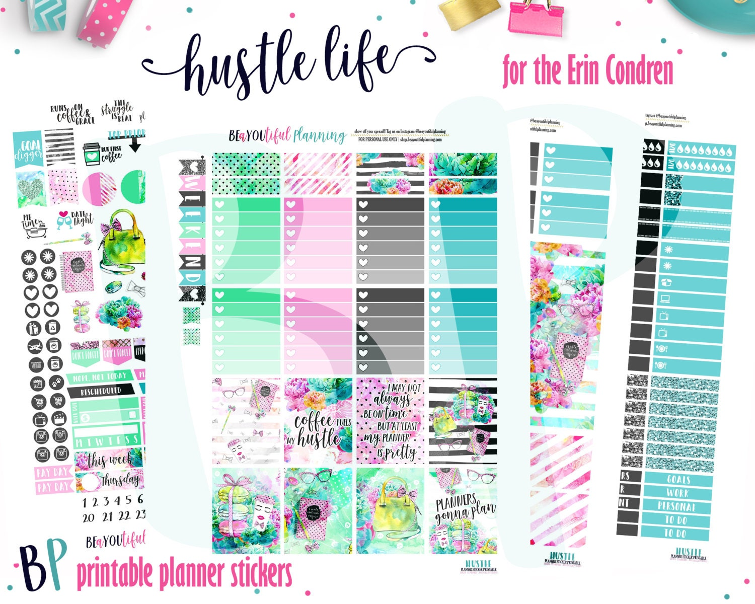 This is a picture of Agile Erin Condren Printable Stickers