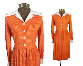 1960s Dress Orange Dress Collar Dress Button Down Dress Housewife Dress 60s Dress Polkadot Dress Vintage Dress Party Dress Retro Dress