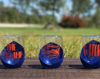 UF Wine Glasses | Gators | The Swamp | Glitter Wine Glass | University of Florida