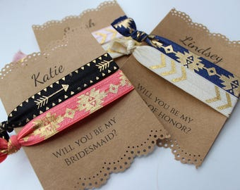 Personalized Hair Ties - Will you be my bridesmaid - maid of honor - flower girl