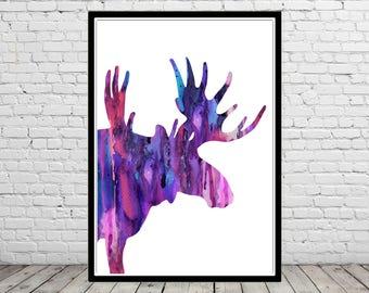 Moose, Moose print, moose art, watercolor moose, watercolor art print, watercolor print deer, animal art, deer, watercolor deer(2939b)