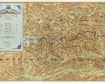Map of The Canadian Rockies. Banff National Park. Yoho Park. Kootenay Park.  Vintage Deco Style old wall reproduction map print.