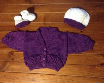 Purple and White Baby  gift set Jacket , Hat , Booties