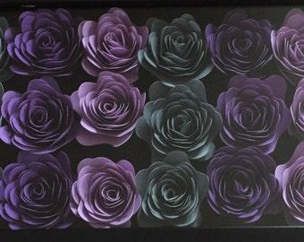 Black personalized shadow box w/ flowers -purple/grey