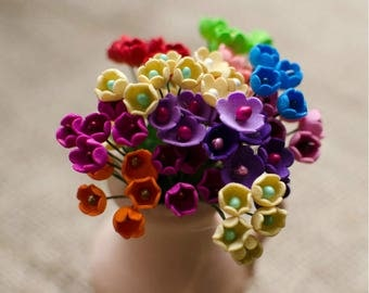 Mini Foam Flowers 6 pcs Little Flower Jewelery making Supplies Miniature Flowers