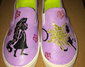 Made to Order:Personalized Disney Princess Custom, Hand Painted Character Toddler, Childrens Rapunzel TANGLED Silhouette Canvas Shoes Active