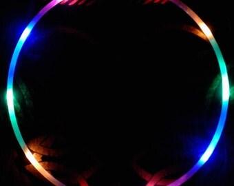"""Rainbow LED Hoop - 5/8"""" hdpe - 10 Rainbow LEDs - Regular AAA Batteries"""