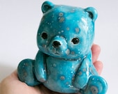 Roger the Teddy Bear Bank - one of a kind ceramic money holder, original design by Art Farm - teal turquoise speckled spots
