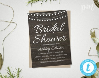 Rustic Bridal Shower Invitation Template, Printable Bridal Shower Template, Bridal Shower Invite, Instant Download Wedding Shower Template