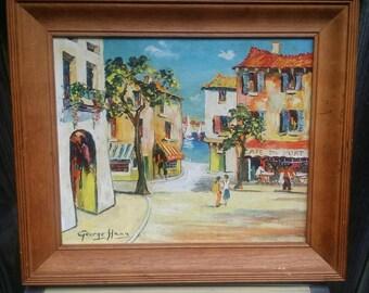 Vintage Artist/George Hann/Enchanting Paris/Mounted Print  29x24