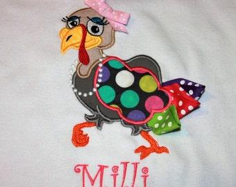 Girls Turkey Applique Shirt, Girls Fall Applique Shirt, Girls Thanksgiving Shirt, Baby Girl Thanksgiving Applique Shirt, Girls Turkey Shirt