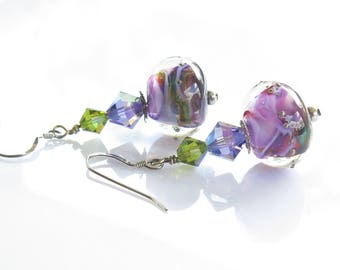 Purple Earrings, Lavender and Green Earrings, Lampwork Jewelry, Dangle Earrings. Lampwork Glass