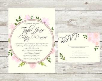 Floral Invitation, Printable Art, Printable Invitation, Wedding Invitation, Digital Download, pink and green invitation, RSVP cards