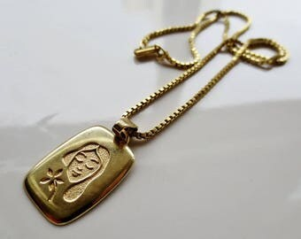 Vintage 13g Solid 14K Yellow Gold VIRGO Pendant Necklace Box Chain
