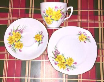 Duchess Bone China Daffodil Tea Cup Trio