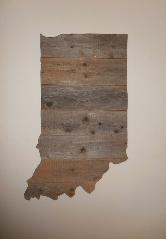 Like this item? - Large Rustic Wood State Cutout Reclaimed Wood Indiana Sign