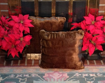"2 Tissavel Ruched Mink Pillows/Finest Faux Fur in the World/18""X18""/Machine WashDry/Perfect Gift for Anyone/Gift-ReadyBox/Ready to Ship!"