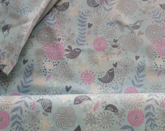 Bird and Flower, Lilac on Turquoise Cotton Lycra Jersey Knit Fabric