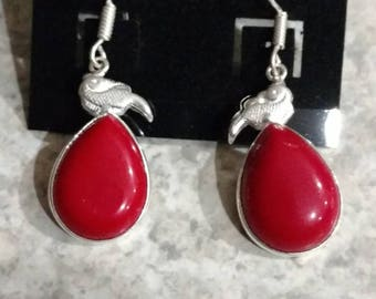 Red Coral Charm Earrings