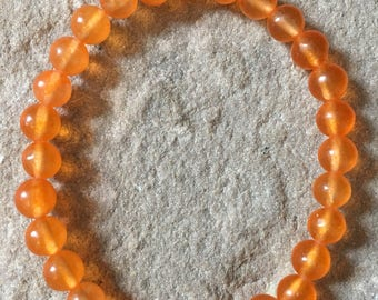 South American orange Jade semi precious 6mm gemstone bracelet