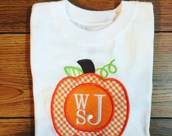 Monogrammed Appliqué Pumpkin Shirt