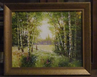 The sunny meadow. Oil painting. Canvas. Original. Unframed