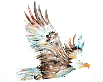 Large Golden Eagle Oil Painting, Original Art on 100% Cotton Canvas, Impressionist Style Painting By Alexa Rose, 40x40""