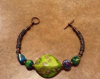 Tribal Bracelet, Lime Green Bracelet, Copper Bracelet