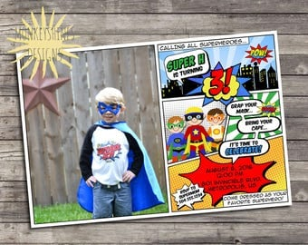 Super Boy Comic Book Birthday Invitation with Picture - Superhero Party - Digital File