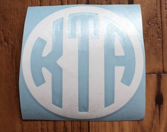circle monogram decal, inverted monogram circle decal, circle monogram vinyl decal, monogram decal, car decal, laptop decal, yeti decal