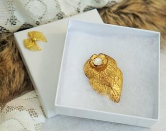 Fur Clip/Vintage Fur Clip/Gold Leaf And Rhinestone Fur Clip/Gold Leaf Scarf Clip/Rhinestone Scarf Clip/Metal Fur Clip/Gold Leaf Fur Clip