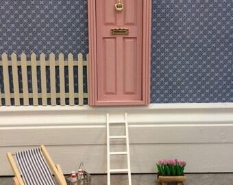 Fairy Door - Doll House Door hand painted pink