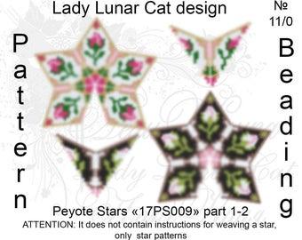Rose flower patterns, Stars Peyote pattern, Spring patterns, Vintage peyote, Flowers pattern,  Peyote stitch, Beading patterns