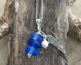 Scottish Sea glass blues  stack pendant with sterling Angel wing and freshwater pearl
