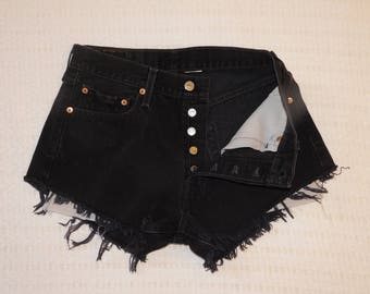 Vintage Levis 501 Jeans Cut Off Shorts Black Buttonfly HighWaist Red Tab 29 Inch Waist C