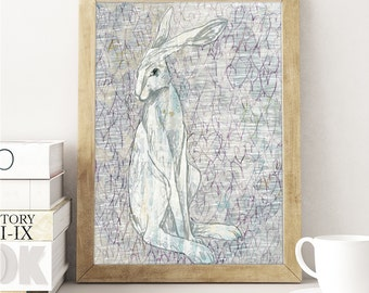 White Hare and Hearts / A3 / Poster Print / Art Print / Collage / Mixed Media / Painting /Illustration