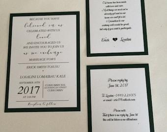 Green & Gold Wedding Invitation