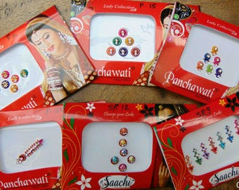 6 Bindi packs - Multicolor Bindi Indian Traditional Forehead Tattoo Stickers Bollywood Bindis - Bindi Sticker/Bindi Jewels/Face Jewels