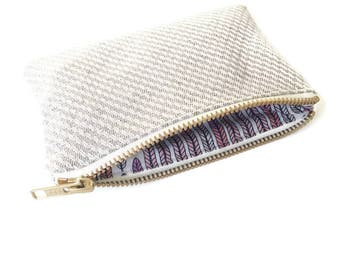 Sustainable coin purse, Hays Organic Hemp and cotton purse Plumes Lavender Vanilla metal zip PS003