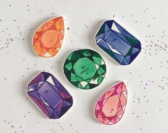 Gemstone Pin [brooch lapel pin]