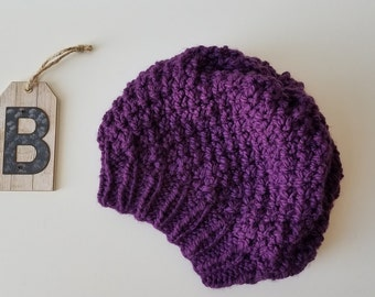 Knitted Knit Slouchy Beret, Hat. Handmade in Eggplant, Purple Yarn.