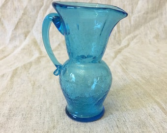 Vintage Small Blue Crackle Glass Pitcher or Creamer