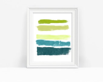 Blue and Green Abstract Print, Printable Brushstrokes Art, Minimalist Wall Art, Instant Download